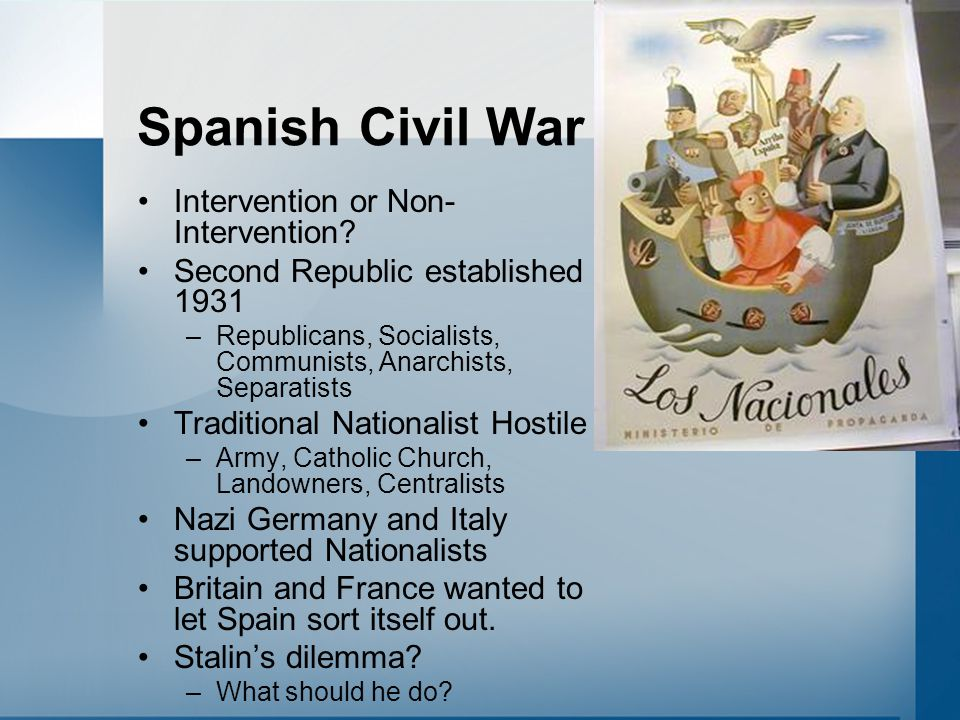 Spanish Civil War Intervention or Non- Intervention? Second Republic established 1931 –Republicans, Socialists, Communists, Anarchists, Separatists Tr