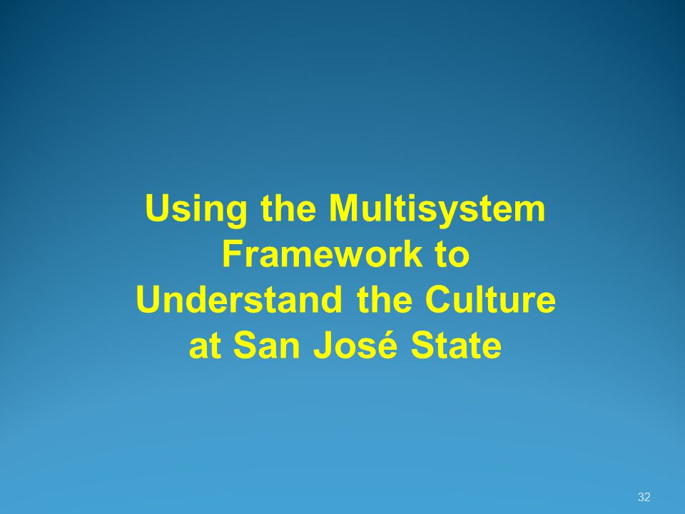 32 Using the Multisystem Framework to Understand the Culture at San José State