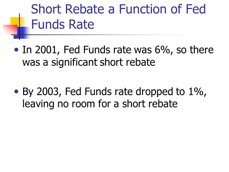 Short Rebate a Function of Fed Funds Rate In 2001, Fed Funds rate was 6%, so there was a significant short rebate By 2003, Fed Funds rate dropped to 1