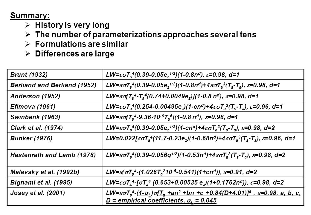 Summary:  History is very long  The number of parameterizations approaches several tens  Formulations are similar  Differences are large Brunt (1932) LW=  T s 4 (0.39-0.05e z 1/2 )(1-0.8n d ),  =0.98, d=1 Berliand and Berliand (1952) LW=  T s 4 (0.39-0.05e z 1/2 )(1-0.8n d )+4  T a 3 (T s -T a ),  =0.98, d=1 Anderson (1952) LW=  [T s 4 -T a 4 (0.74+0.0049e z )](1-0.8 n d ),  =0.98, d=1 Efimova (1961) LW=  T a 4 (0.254-0.00495e z )(1-cn d )+4  T a 3 (T s -T a ),  =0.96, d=1 Swinbank (1963) LW=  [T s 4 -9.36  10 -6 T a 6 ](1-0.8 n d ),  =0.98, d=1 Clark et al.