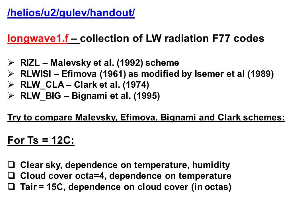 /helios/u2/gulev/handout/ longwave1.f – collection of LW radiation F77 codes  RIZL – Malevsky et al.