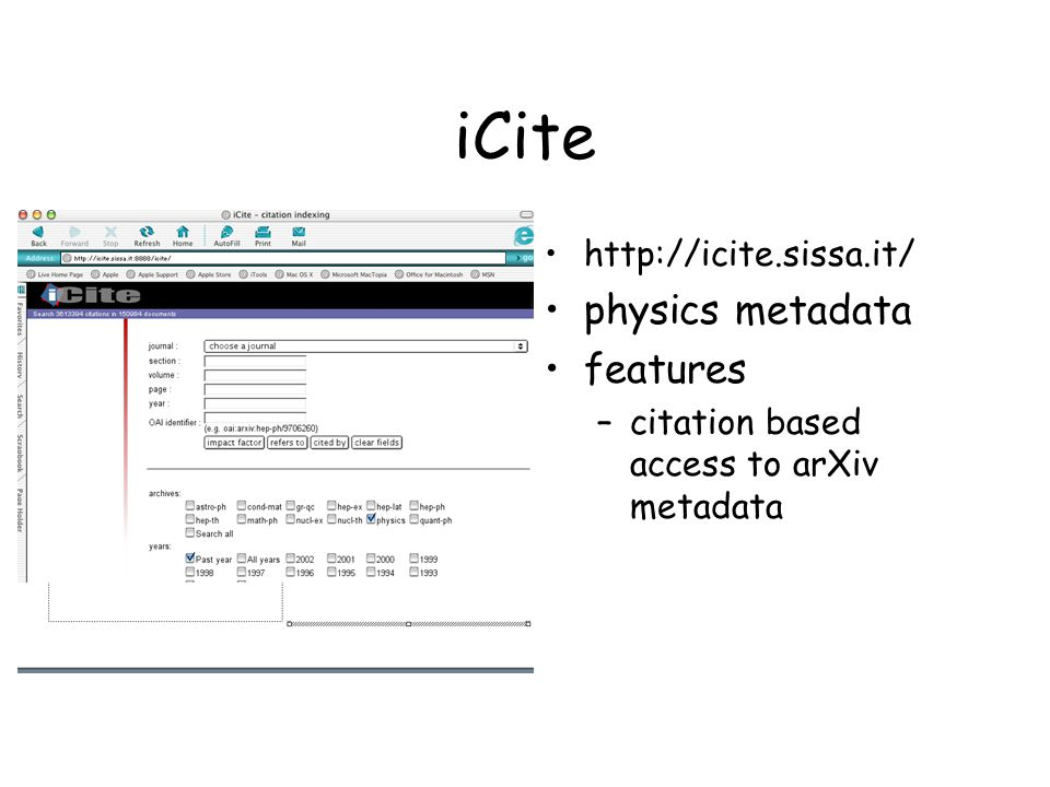 iCite http://icite.sissa.it/ physics metadata features –citation based access to arXiv metadata