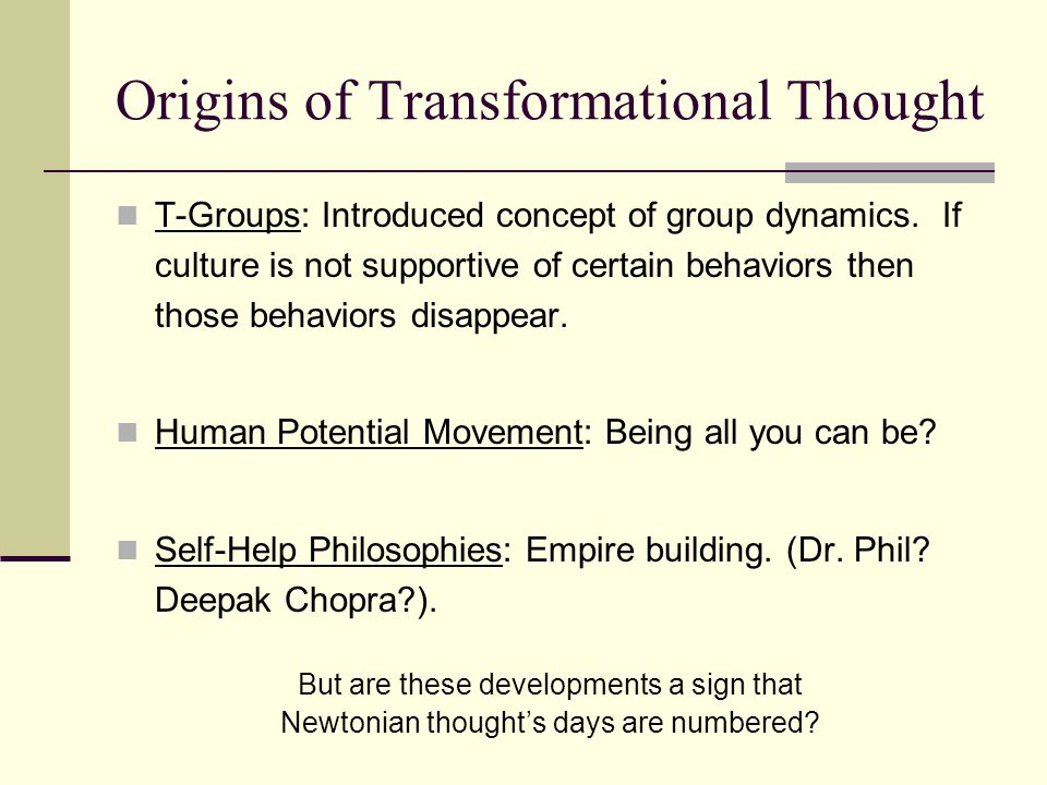 The old paradigm includes the assumption that change begins at the level of external form.