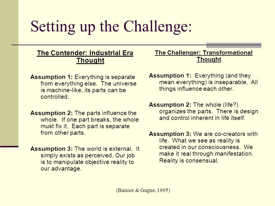 Setting up the Challenge: The Contender: Industrial Era Thought Assumption 1: Everything is separate from everything else.