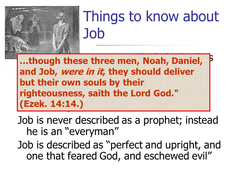Many think the book is fictional (Very interesting Testament of Job ) Job probably lived during the time of Abraham, Issac and Jacob Job is never described as a prophet; instead he is an everyman Job is described as perfect and upright, and one that feared God, and eschewed evil Things to know about Job …though these three men, Noah, Daniel, and Job, were in it, they should deliver but their own souls by their righteousness, saith the Lord God. (Ezek.