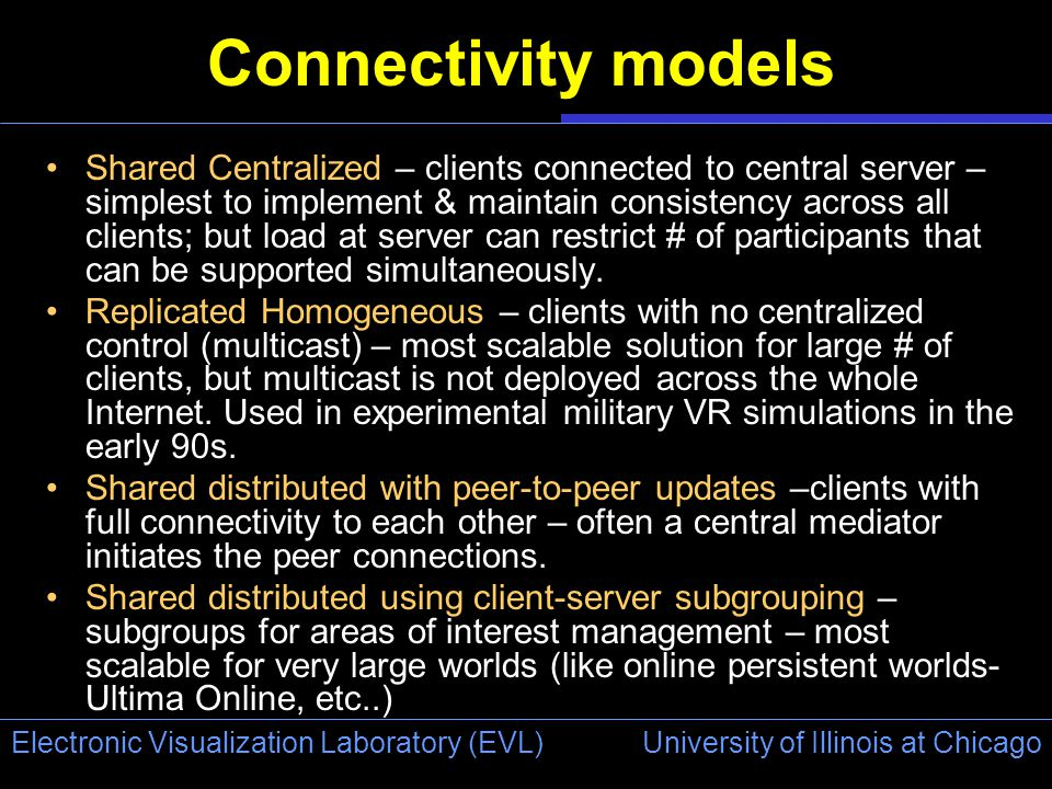 University of Illinois at Chicago Electronic Visualization Laboratory (EVL) Connectivity models Shared Centralized – clients connected to central server – simplest to implement & maintain consistency across all clients; but load at server can restrict # of participants that can be supported simultaneously.
