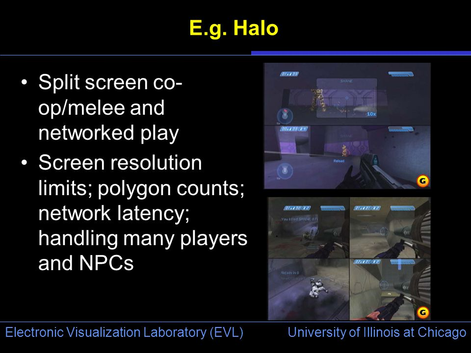 University of Illinois at Chicago Electronic Visualization Laboratory (EVL) E.g. Halo Split screen co- op/melee and networked play Screen resolution l