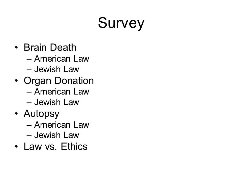 Survey Brain Death –American Law –Jewish Law Organ Donation –American Law –Jewish Law Autopsy –American Law –Jewish Law Law vs. Ethics