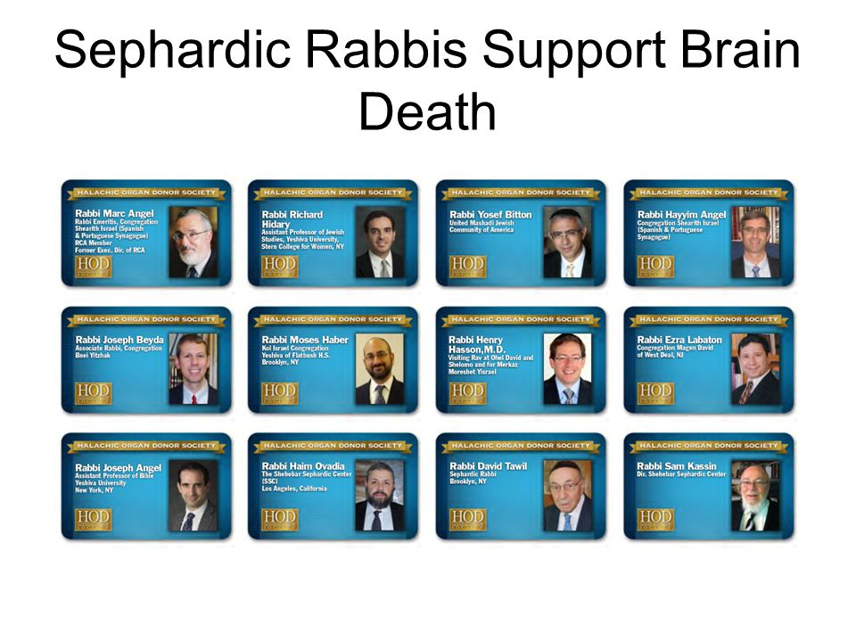 Sephardic Rabbis Support Brain Death