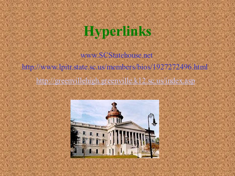 Hyperlinks http://www.lpitr.state.sc.us/members/bios/1927272496.html www.SCStatehouse.net http://greenvillehigh.greenville.k12.sc.us/index.asp