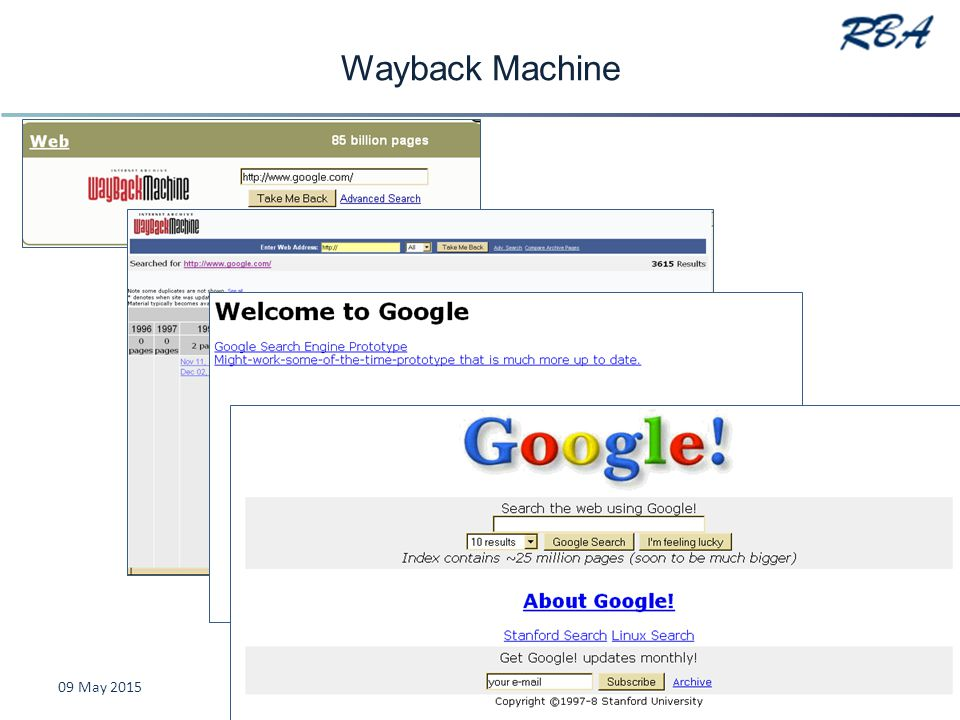 Wayback Machine 09 May 2015Karen Blakeman www.rba.co.uk36