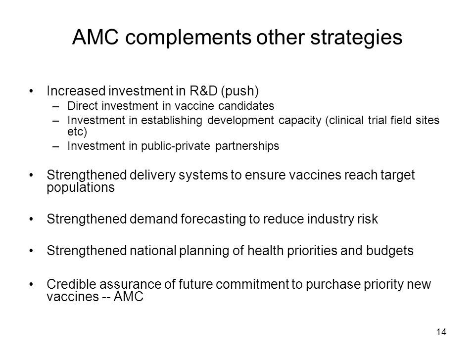 14 AMC complements other strategies Increased investment in R&D (push) –Direct investment in vaccine candidates –Investment in establishing developmen