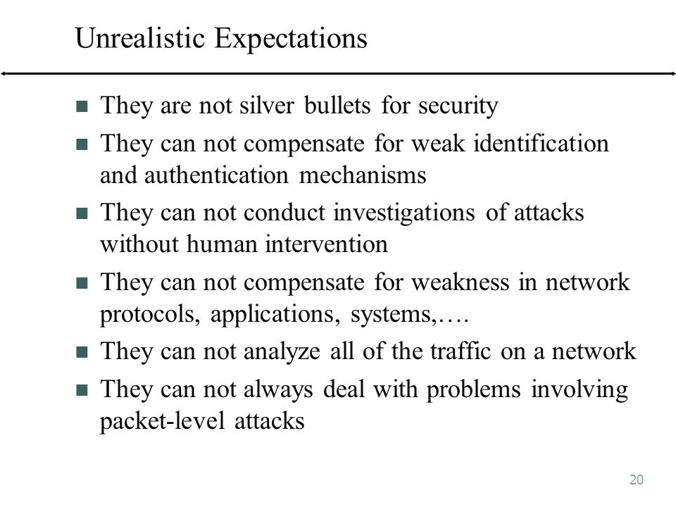 20 Unrealistic Expectations They are not silver bullets for security They can not compensate for weak identification and authentication mechanisms They can not conduct investigations of attacks without human intervention They can not compensate for weakness in network protocols, applications, systems,….