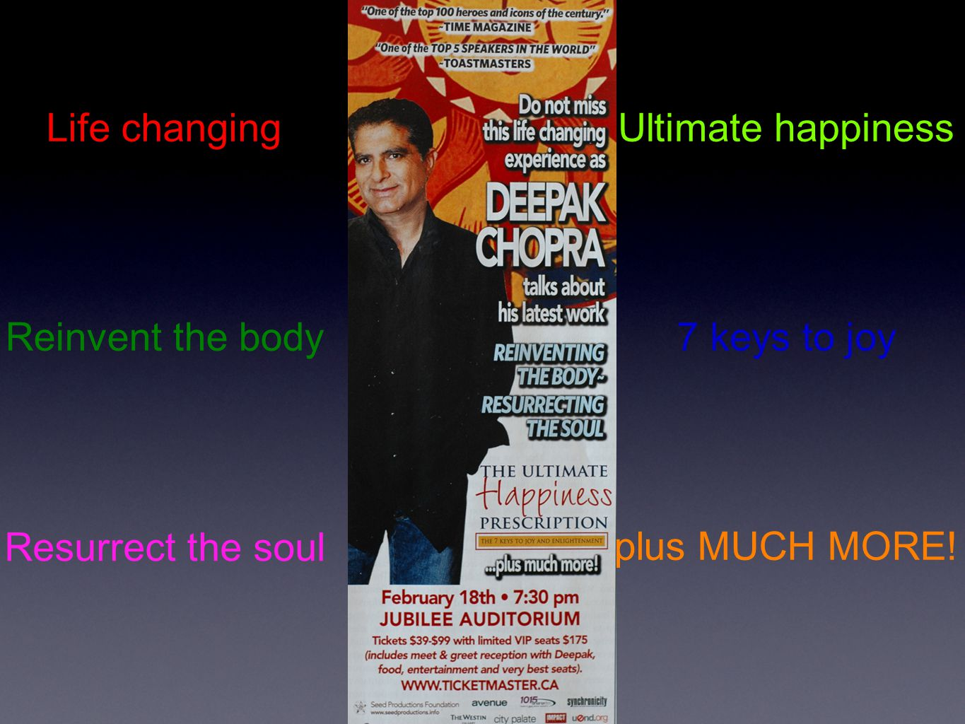 Life changing Reinvent the body Resurrect the soul Ultimate happiness 7 keys to joy plus MUCH MORE!