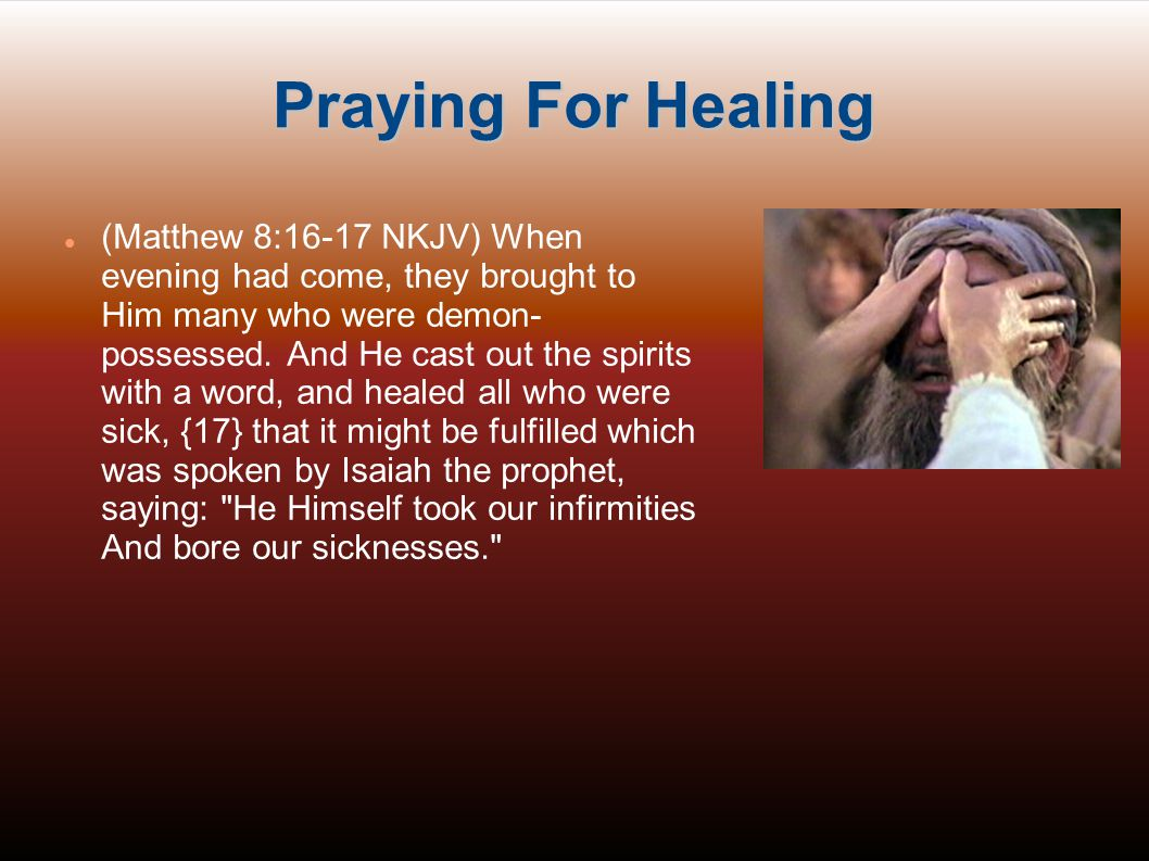 Lack Of Healing Doubt & Unbelief: Matthew 13:58, James 1:5-8 Major sin especially with respect to holy things such as Communion: 1 Corinthians 11:29,30 Rage, anger, bitterness, hatred, hardness of heart and other means of resisting the Spirit who heals Acts 7:51, Ephesians 4:28-31, 1 John 2:11 Poor teaching on healing and on the supernatural aspects of the Christian faith generally Manipulative behavior, trying to force God s hand, or trying to do it by human means or even by occultic means such as hypnosis