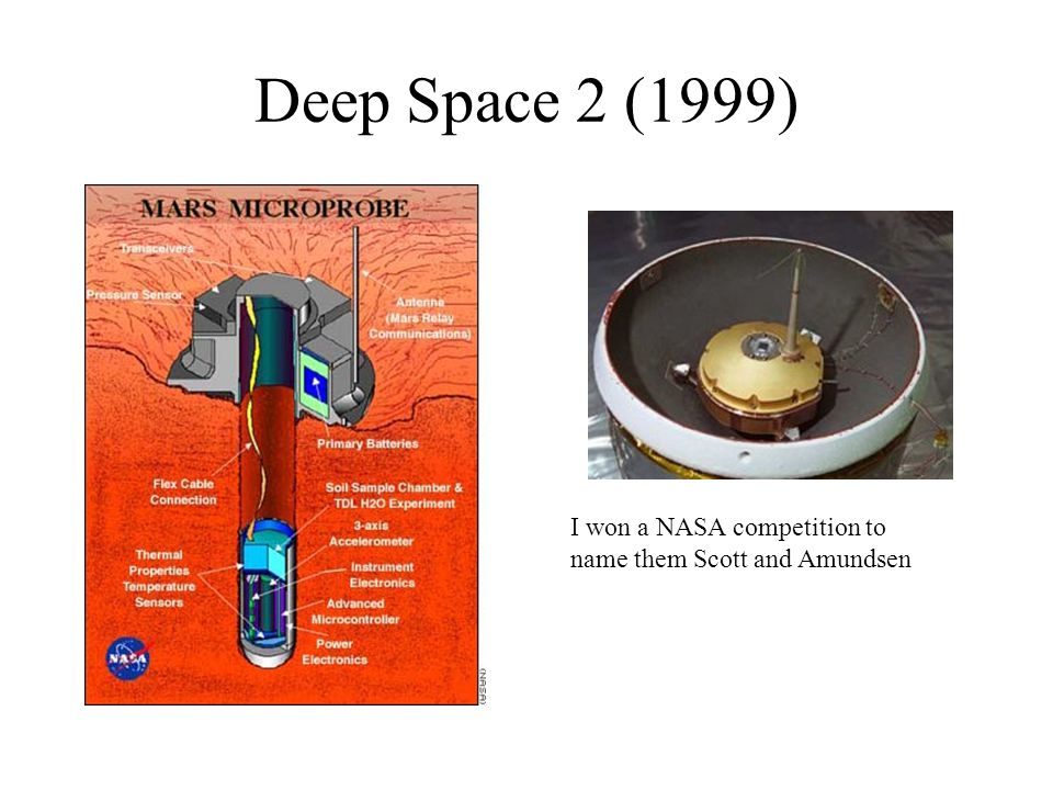 Deep Space 2 (1999) I won a NASA competition to name them Scott and Amundsen