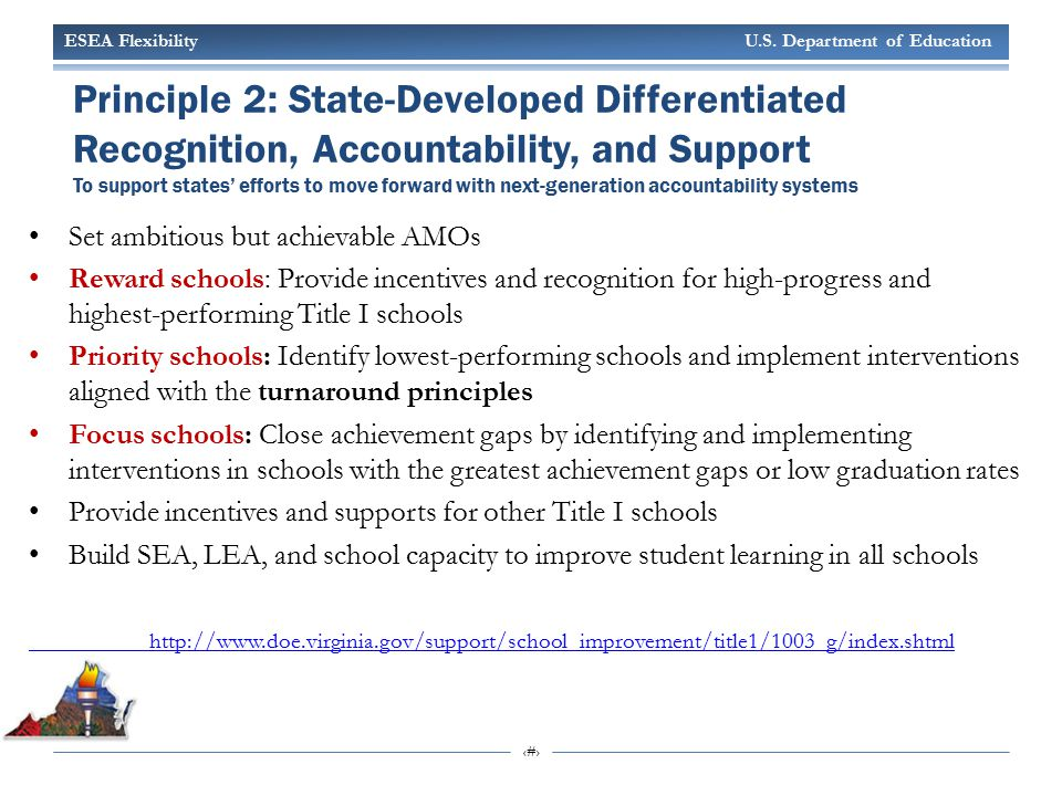 ESEA Flexibility U.S. Department of Education 15 Principle 2: State-Developed Differentiated Recognition, Accountability, and Support To support state