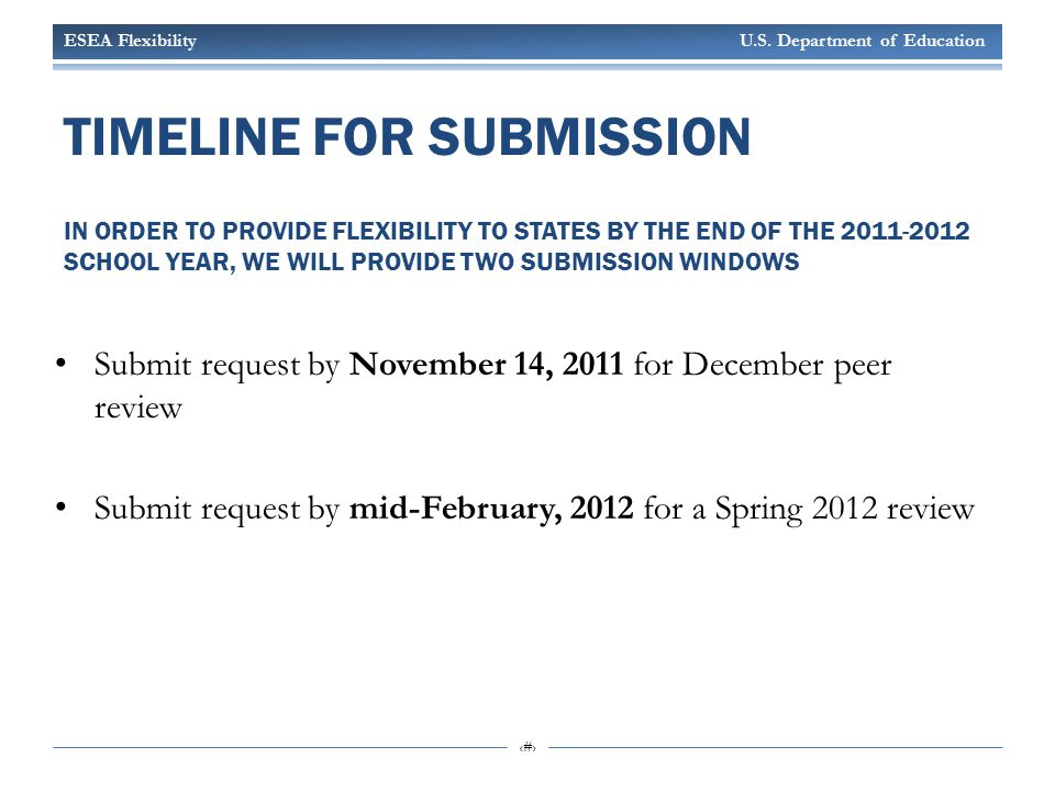 ESEA Flexibility U.S. Department of Education 21 TIMELINE FOR SUBMISSION IN ORDER TO PROVIDE FLEXIBILITY TO STATES BY THE END OF THE 2011-2012 SCHOOL