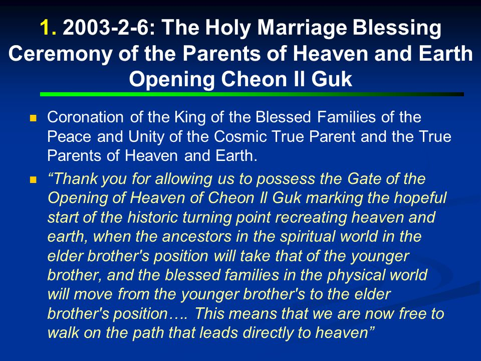 Completion: Peace Blessing Ceremony of the Civilization of God, King of Kings, Oct.