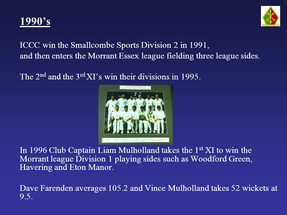 1990's ICCC win the Smallcombe Sports Division 2 in 1991, and then enters the Morrant Essex league fielding three league sides.
