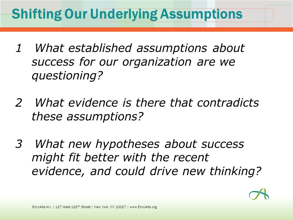Shifting Our Underlying Assumptions 1What established assumptions about success for our organization are we questioning.