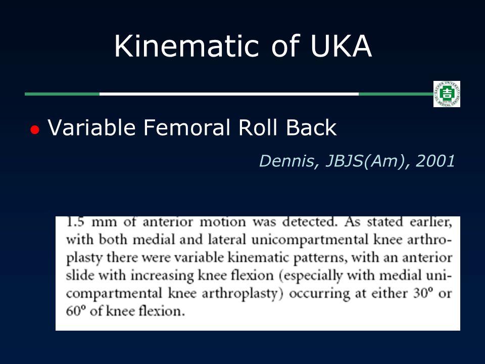 Kinematic of UKA Variable Femoral Roll Back Dennis, JBJS(Am), 2001
