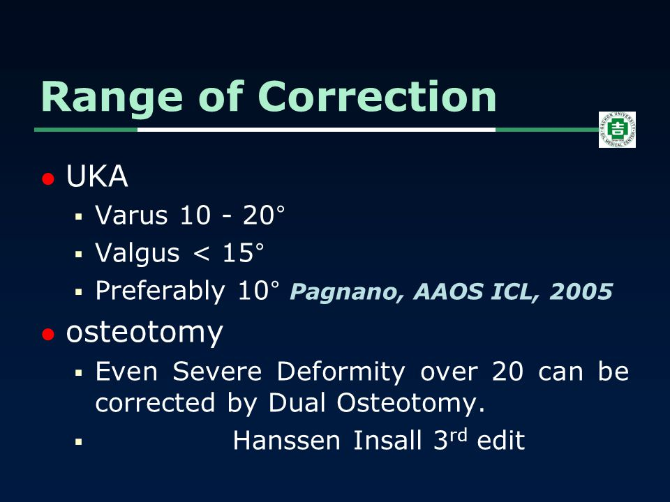 UKA  Varus 10 - 20°  Valgus < 15°  Preferably 10° Pagnano, AAOS ICL, 2005 osteotomy  Even Severe Deformity over 20 can be corrected by Dual Osteot