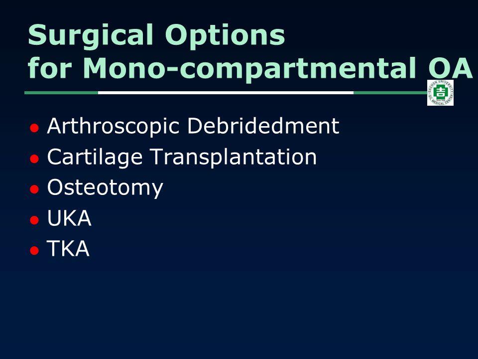 Arthroscopic Debridedment Cartilage Transplantation Osteotomy UKA TKA Surgical Options for Mono-compartmental OA