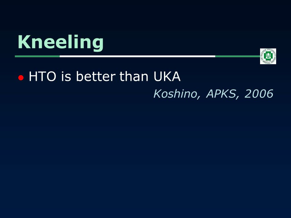 HTO is better than UKA Koshino, APKS, 2006 Kneeling