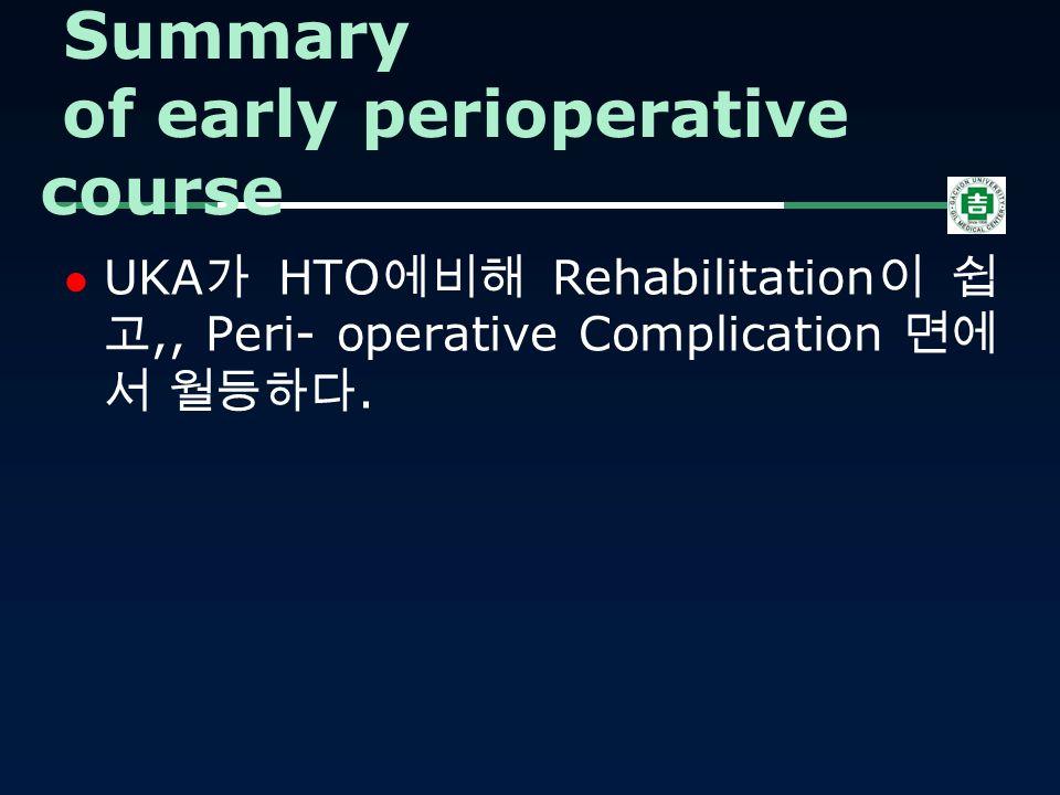 UKA 가 HTO 에비해 Rehabilitation 이 쉽 고,, Peri- operative Complication 면에 서 월등하다.