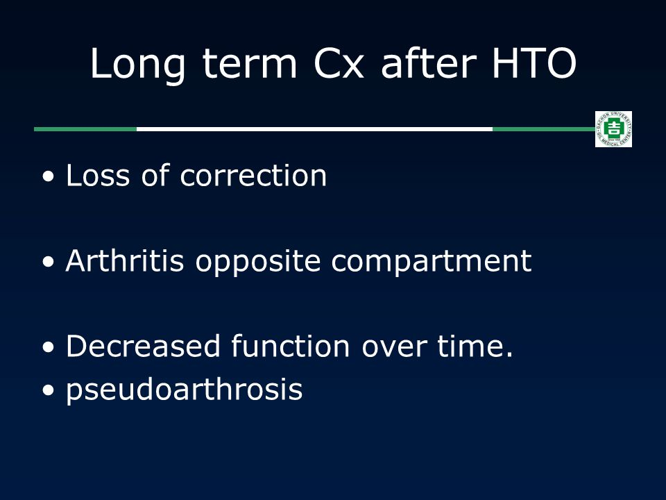 Long term Cx after HTO Loss of correction Arthritis opposite compartment Decreased function over time. pseudoarthrosis