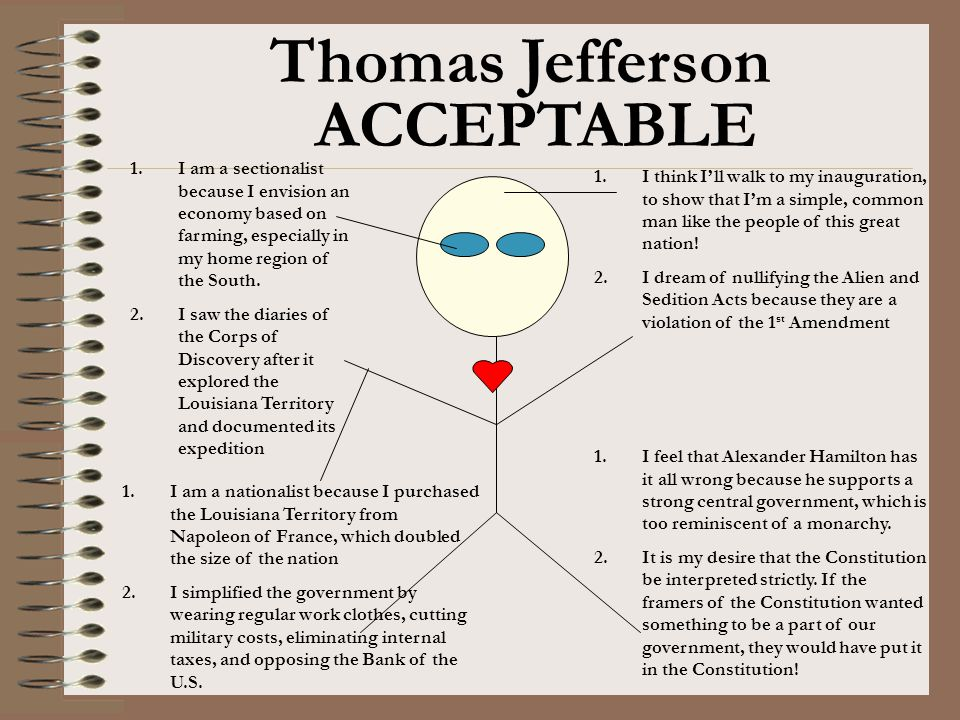 Thomas Jefferson 1.I think I'll walk to my inauguration, to show that I'm a simple, common man like the people of this great nation! 2.I dream of null