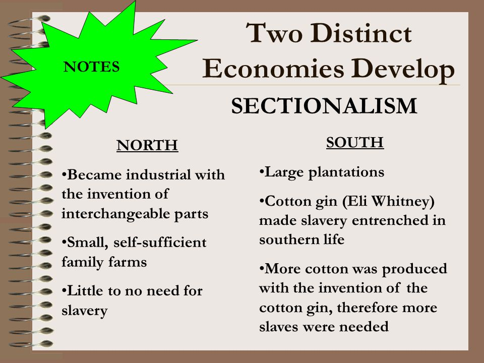 Two Distinct Economies Develop SECTIONALISM NOTES NORTH Became industrial with the invention of interchangeable parts Small, self-sufficient family fa