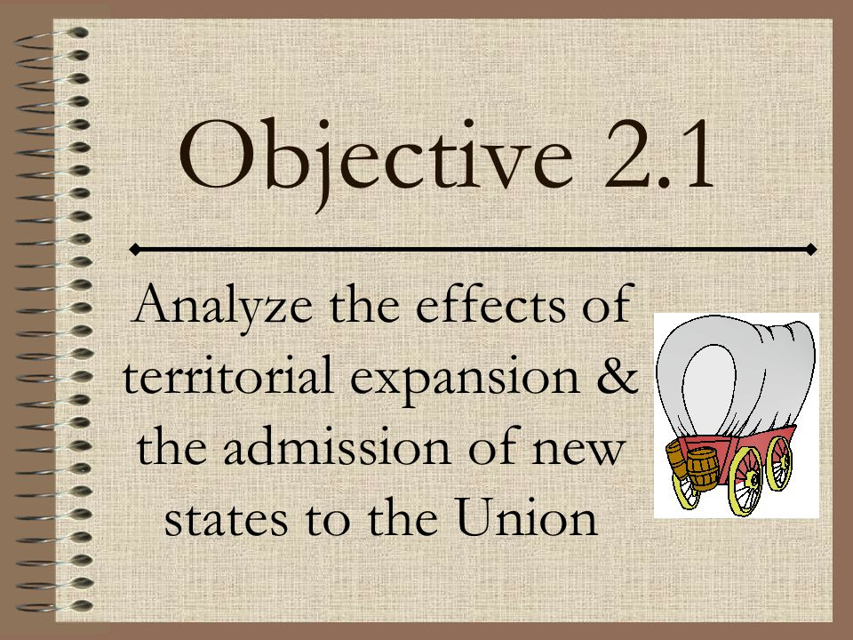 Objective 2.1 Analyze the effects of territorial expansion & the admission of new states to the Union