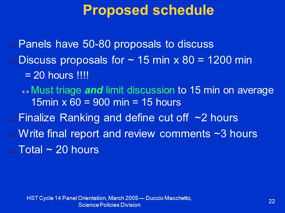 HST Cycle 14 Panel Orientation, March 2005 — Duccio Macchetto, Science Policies Division 22 Proposed schedule  Panels have 50-80 proposals to discuss