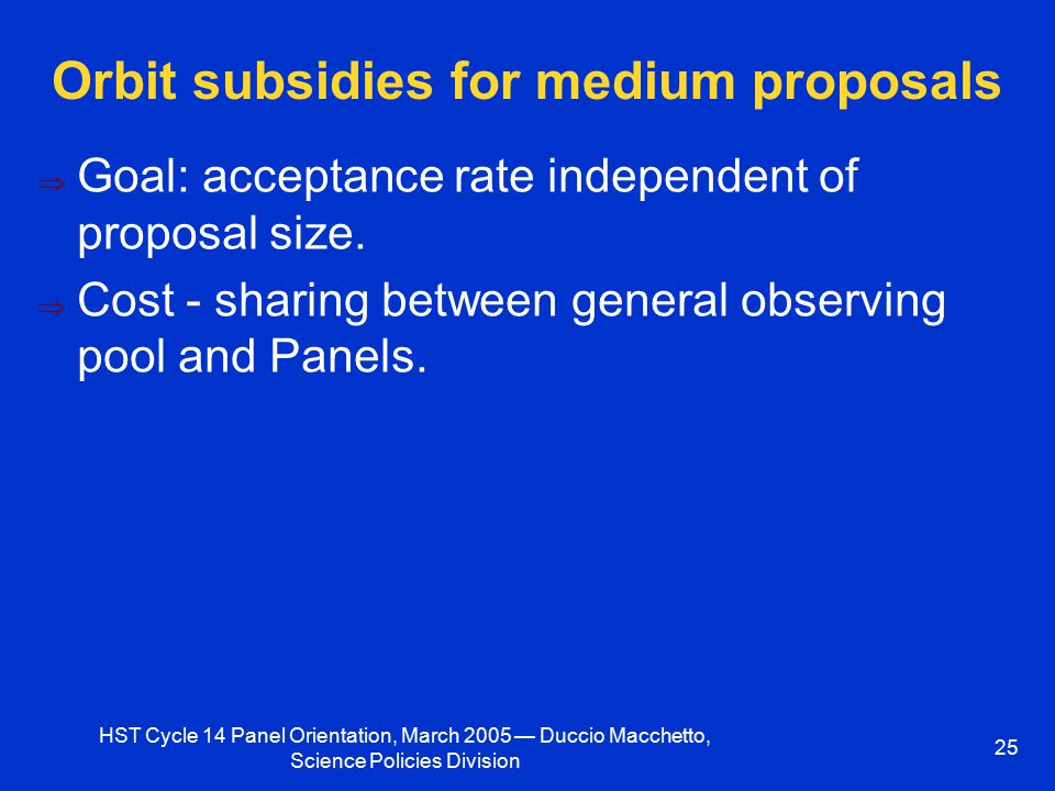 HST Cycle 14 Panel Orientation, March 2005 — Duccio Macchetto, Science Policies Division 25 Orbit subsidies for medium proposals  Goal: acceptance rate independent of proposal size.