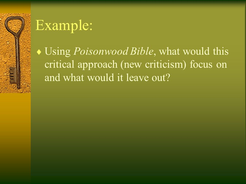 Example:  Using Poisonwood Bible, what would this critical approach (new criticism) focus on and what would it leave out?