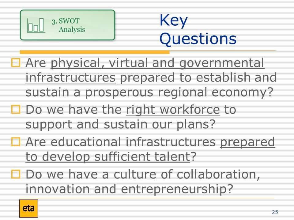 25 Key Questions  Are physical, virtual and governmental infrastructures prepared to establish and sustain a prosperous regional economy.