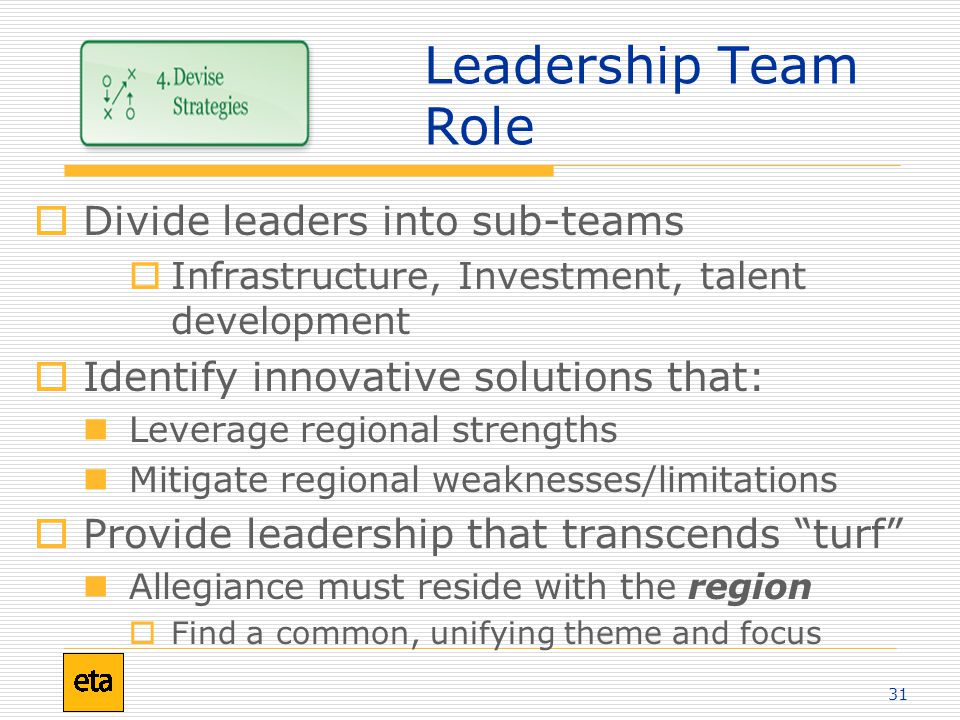 31 Leadership Team Role  Divide leaders into sub-teams  Infrastructure, Investment, talent development  Identify innovative solutions that: Leverage regional strengths Mitigate regional weaknesses/limitations  Provide leadership that transcends turf Allegiance must reside with the region  Find a common, unifying theme and focus