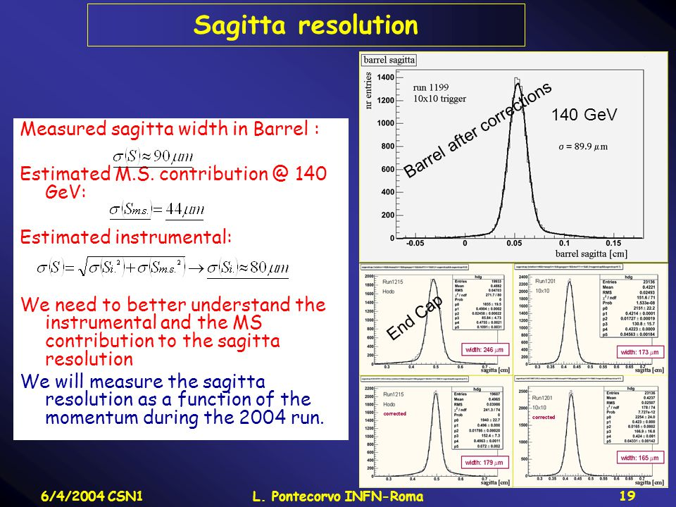 6/4/2004 CSN1L. Pontecorvo INFN-Roma19 Sagitta resolution Measured sagitta width in Barrel : Estimated M.S. contribution @ 140 GeV: Estimated instrume
