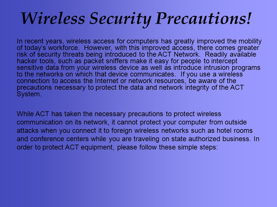 Wireless Security Precautions.