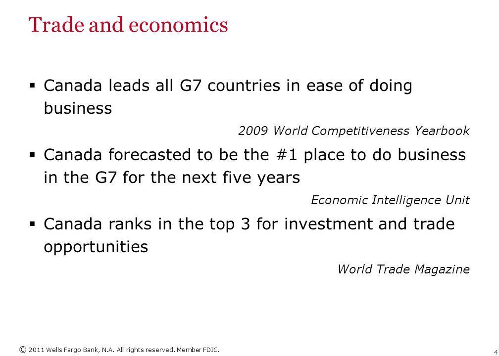 © 2011 Wells Fargo Bank, N.A. All rights reserved. Member FDIC. 44 Trade and economics  Canada leads all G7 countries in ease of doing business 2009