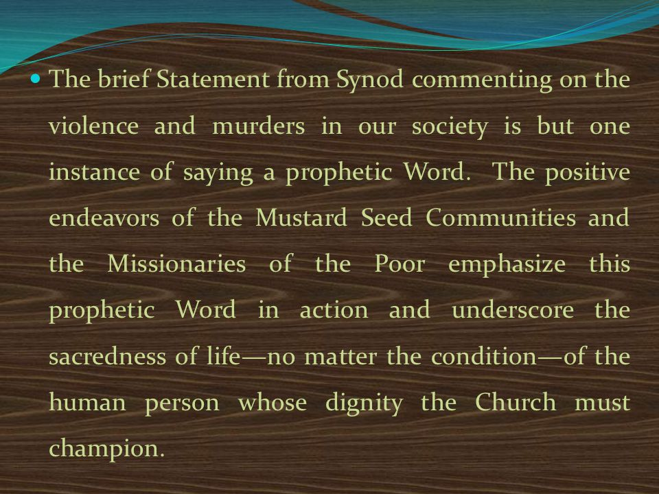 The brief Statement from Synod commenting on the violence and murders in our society is but one instance of saying a prophetic Word.