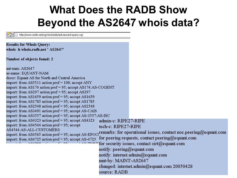 69 What Does the RADB Show Beyond the AS2647 whois data