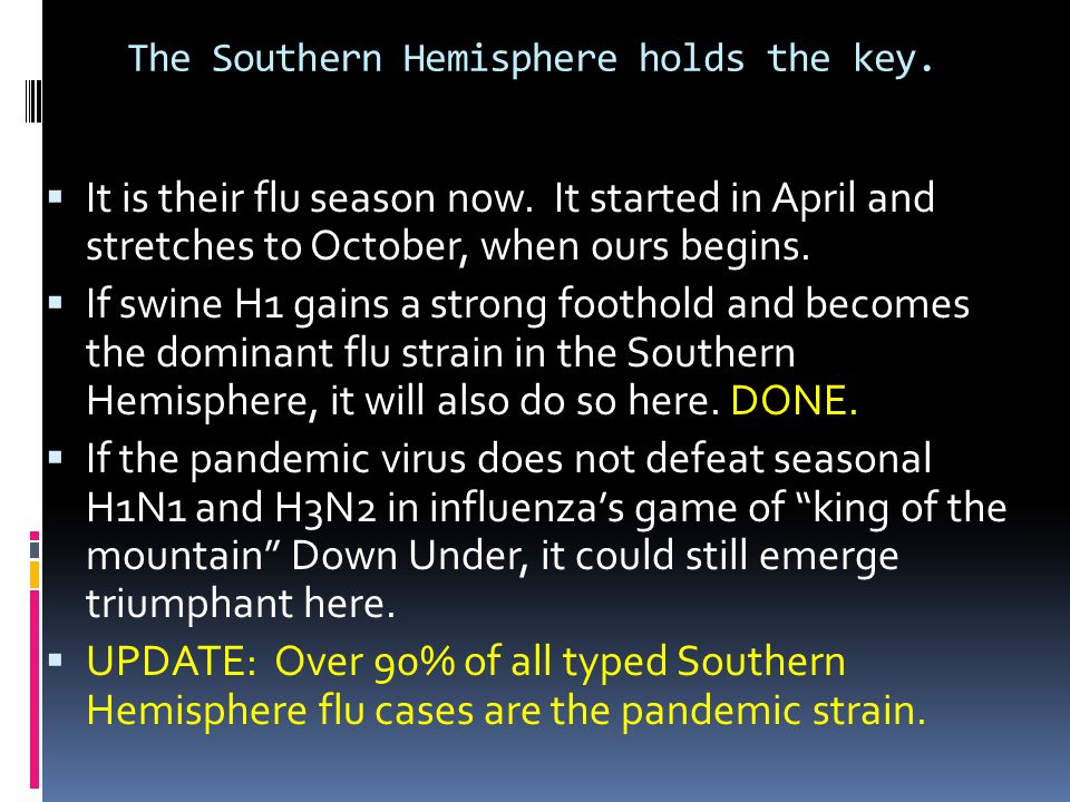 The Southern Hemisphere holds the key.  It is their flu season now. It started in April and stretches to October, when ours begins.  If swine H1 gai