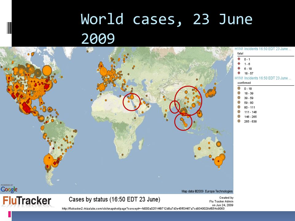 World cases, 23 June 2009