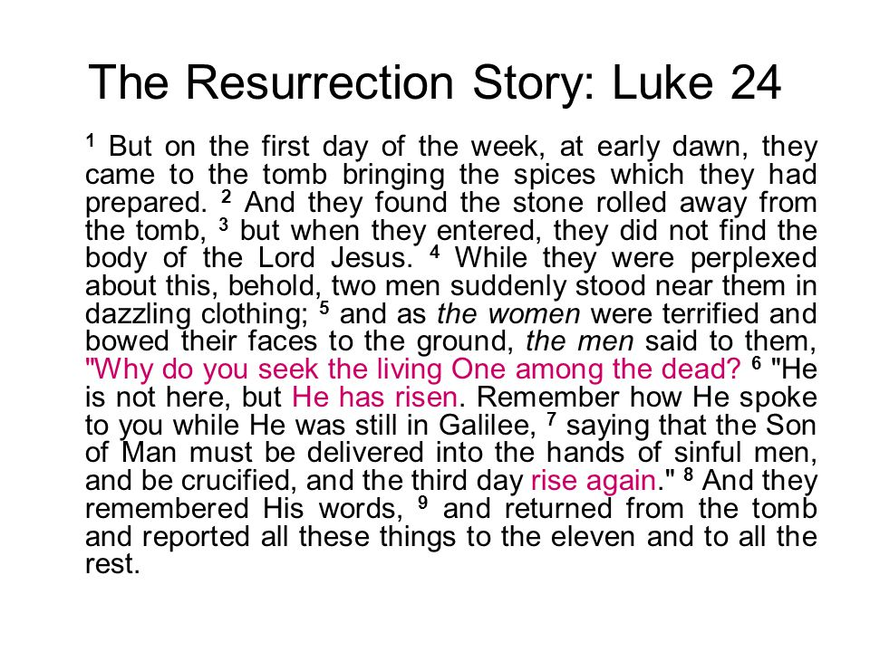 The Resurrection Story: Luke 24 1 But on the first day of the week, at early dawn, they came to the tomb bringing the spices which they had prepared.