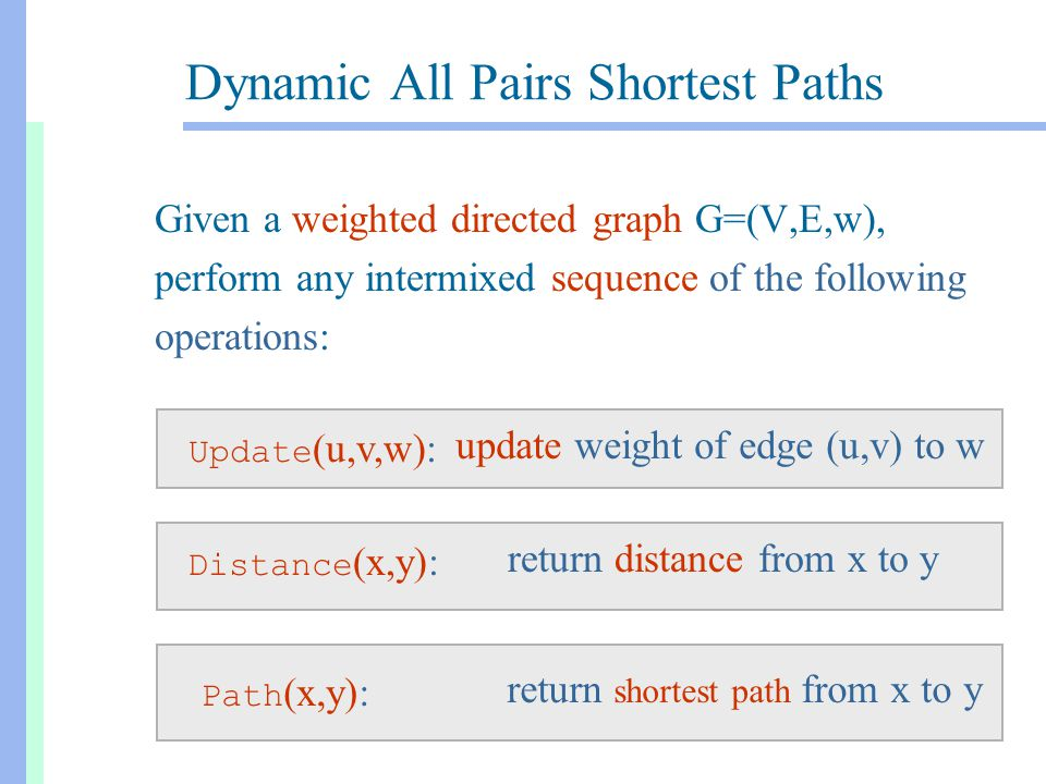 Dynamic All Pairs Shortest Paths Given a weighted directed graph G=(V,E,w), perform any intermixed sequence of the following operations: return distance from x to y Distance (x,y): update weight of edge (u,v) to w Update (u,v,w): return shortest path from x to y Path (x,y):