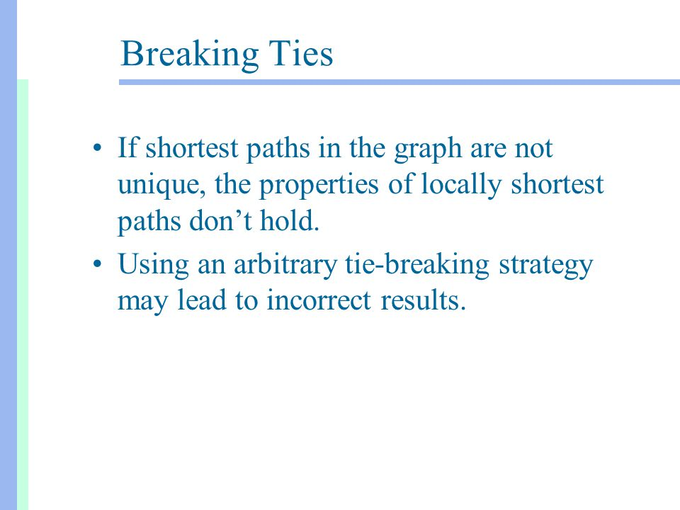 Breaking Ties If shortest paths in the graph are not unique, the properties of locally shortest paths don't hold.