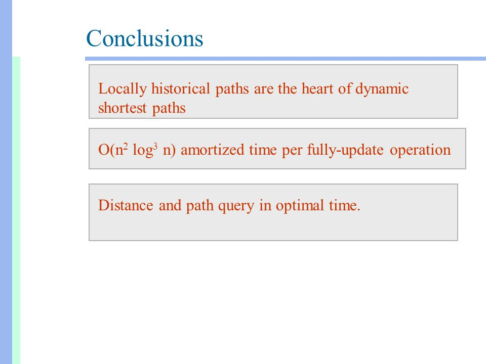Conclusions Locally historical paths are the heart of dynamic shortest paths O(n 2 log 3 n) amortized time per fully-update operationDistance and path
